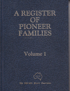 REGISTER OF PIONEER FAMILIES, A : Volume 1